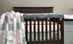 Custom Girl Crib Bedding- Farm Girl,  Farm Animals, Gray Check, Blush Minky, Farm Crib Bedding