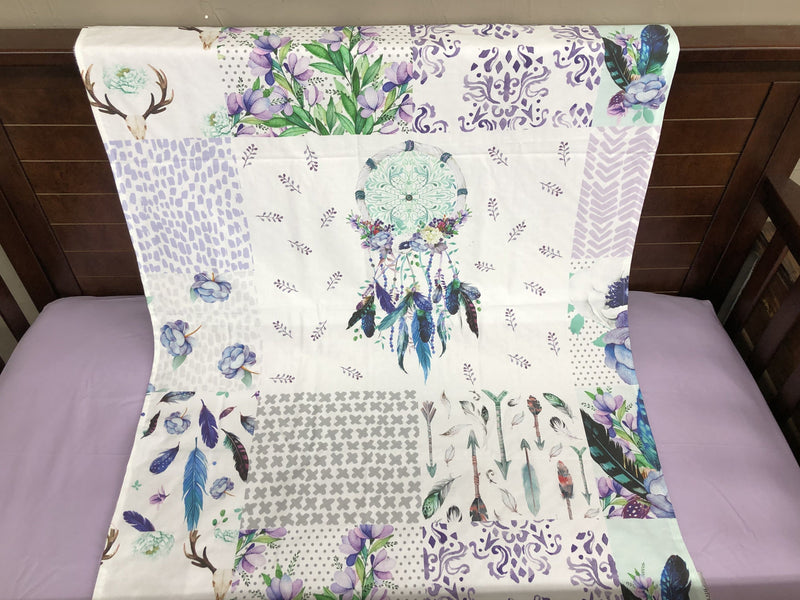 Custom Girl Crib Bedding - Dreamcatcher, Lilac Feathers, and White Gray Arrow, Dreamcatcher Collection