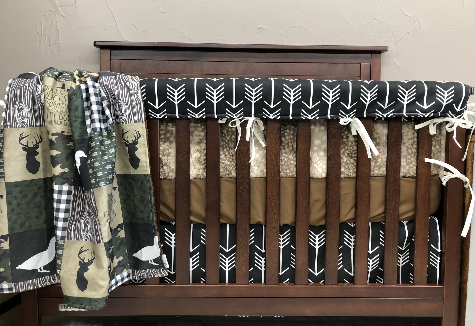 Custom Boy Crib Bedding- Ducks, Trucks, Eight Point Bucks, Black Arrow, Fawn Minky, Duck and Buck Crib Bedding