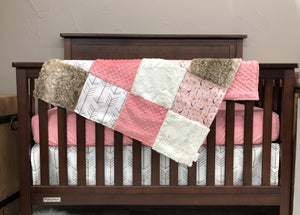 Custom Girl Crib Bedding - Steer, Fawn Minky, White Tan Arrow, Coral,  Steer Crib Bedding