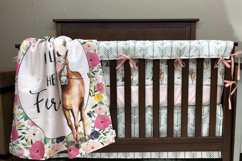 Custom Girl Crib Bedding  - Boho Horses, Blush, and White Gray Arrow, Boho Horse Baby Bedding