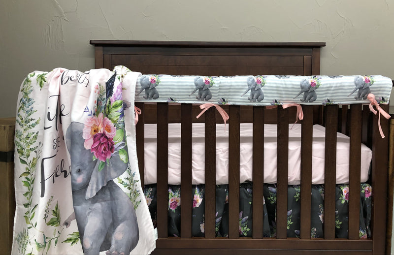 Custom Girl Crib Bedding - Elephants, Feathers, and Stripes, Elephant Crib Bedding