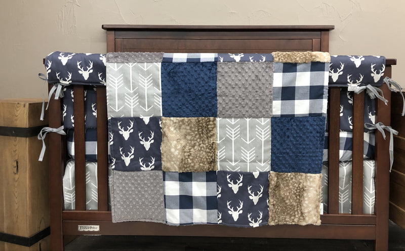 2 Day Ship Boy Crib Bedding - Navy Buck, Fawn Minky, Gray Arrow, Navy Check, Gray Arrow, Rustic Farm Crib Bedding