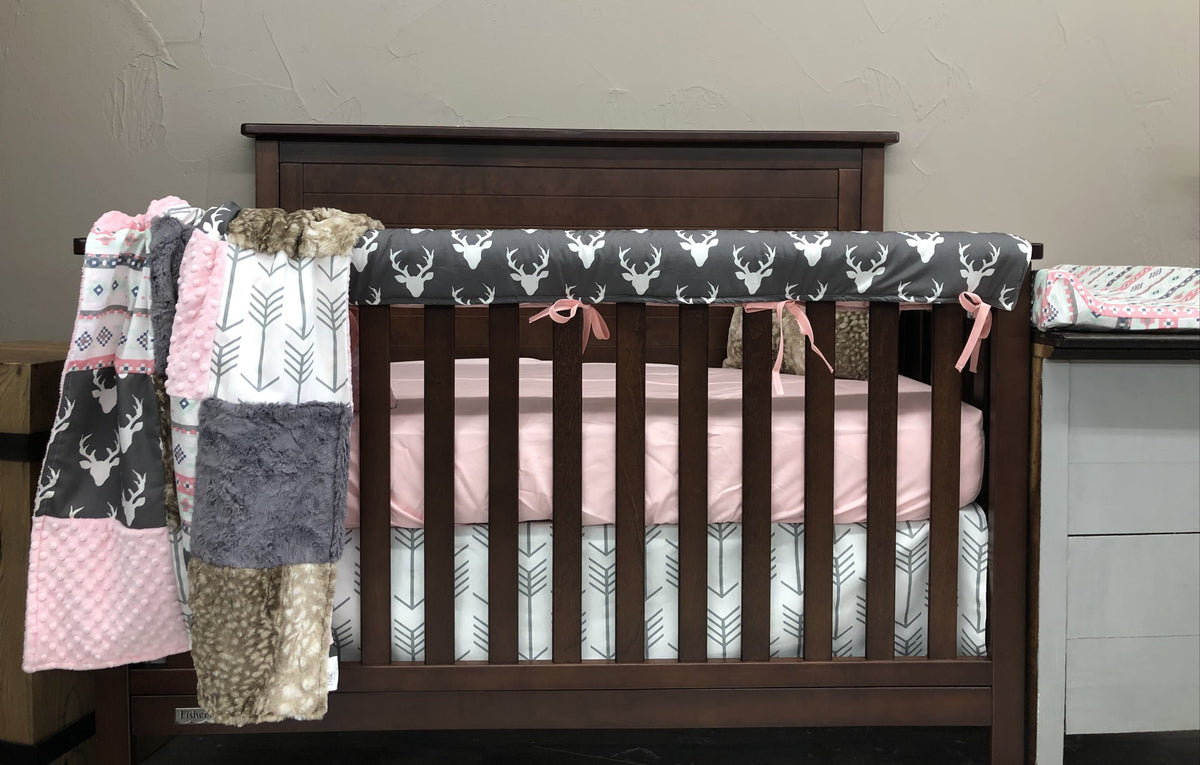 Quick Ship Girl Crib Bedding- Gray Buck, Aztec, Blush, Arrow, Fawn Minky, Woodland Collection