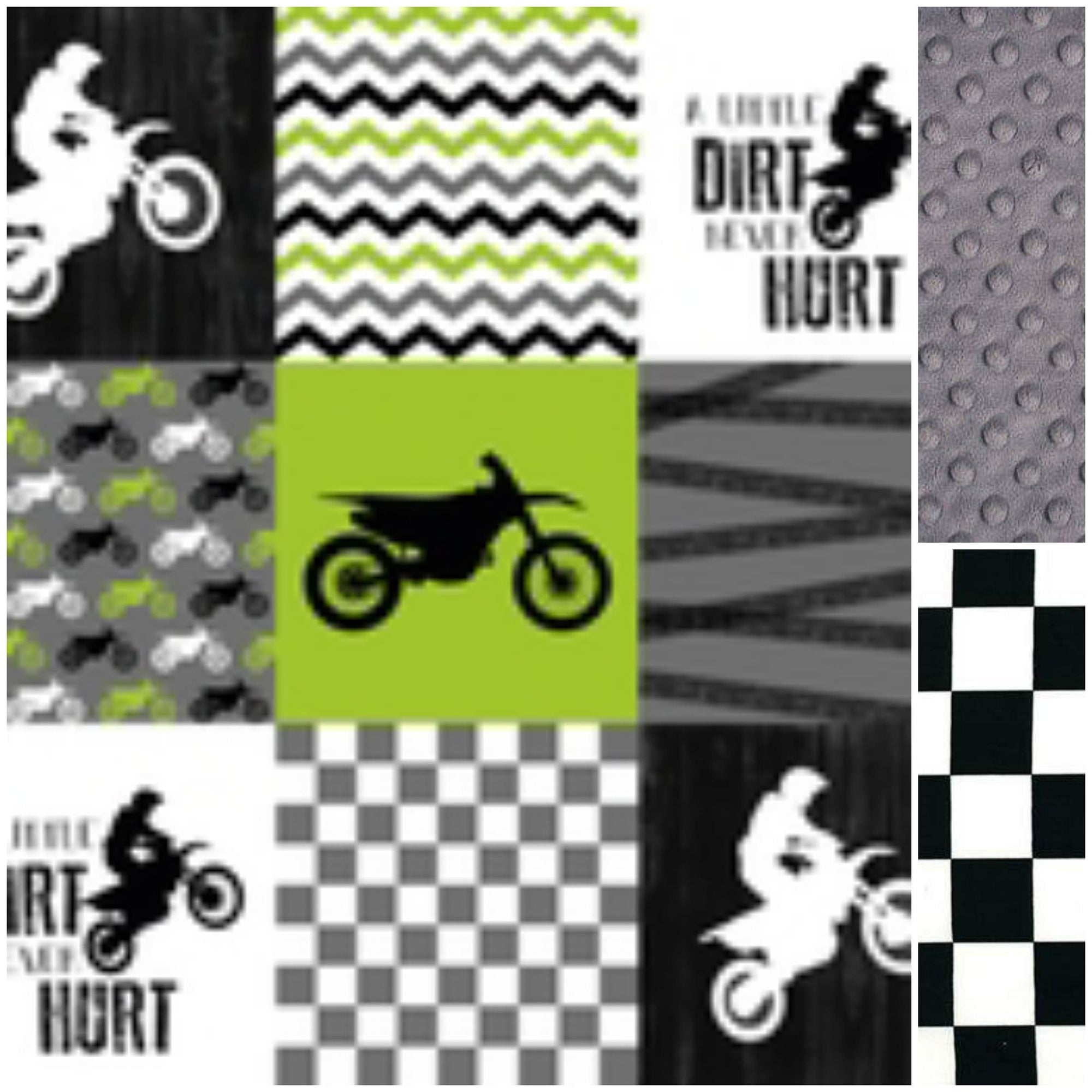 Custom Boy Crib Bedding - Green Dirt Bike, Gray Minky, and Race Flag Check, Motocross Crib Bedding