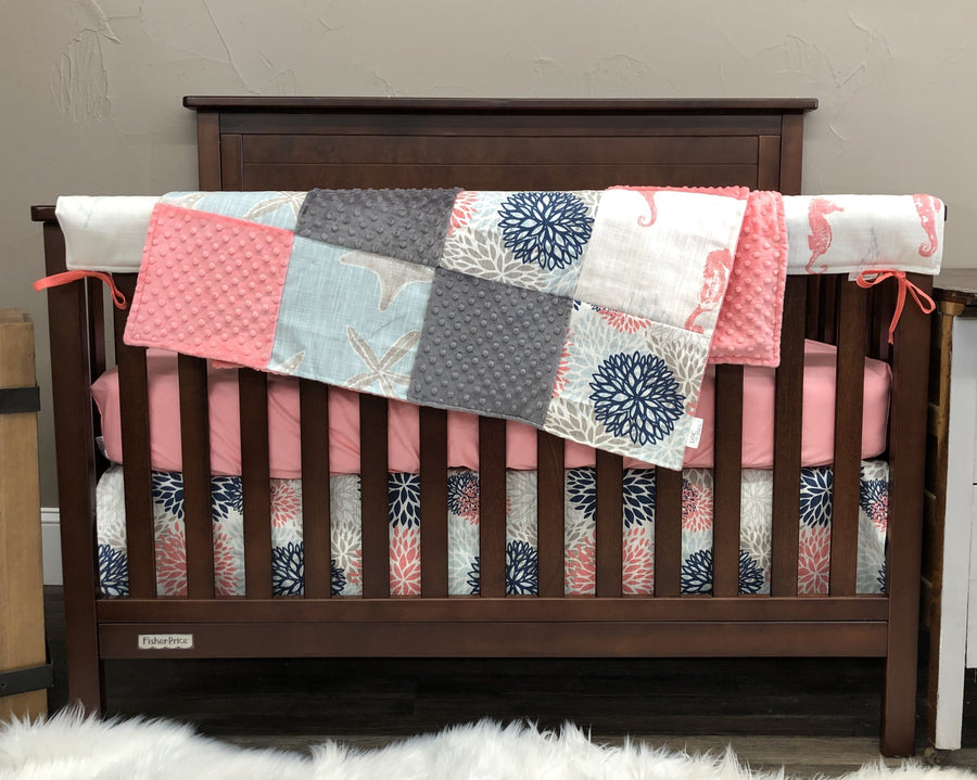 Ready to Ship Girl Crib Bedding - Seahorse, Starfish, Color Burst, Sea Life Collection