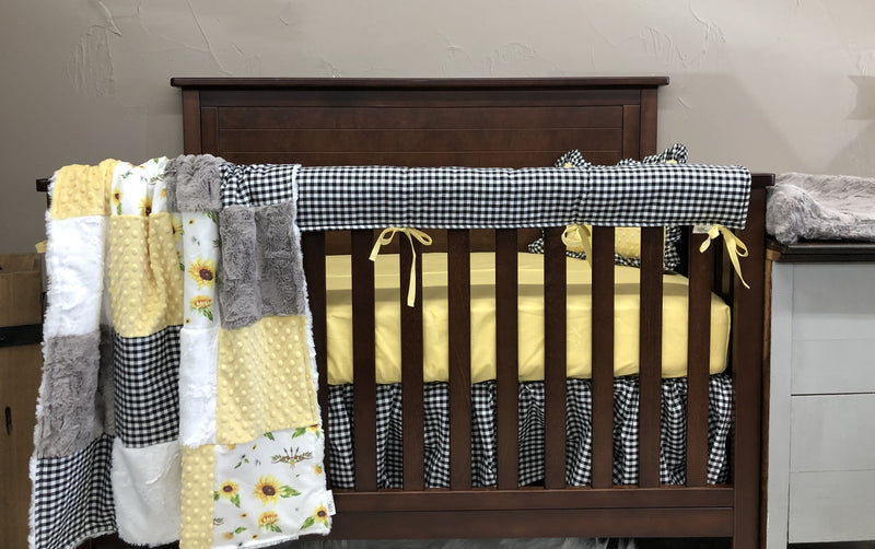Ready to Ship Girl Crib Bedding - Sunflower, Black Check, Light Yellow Minky, Sunflower Collection