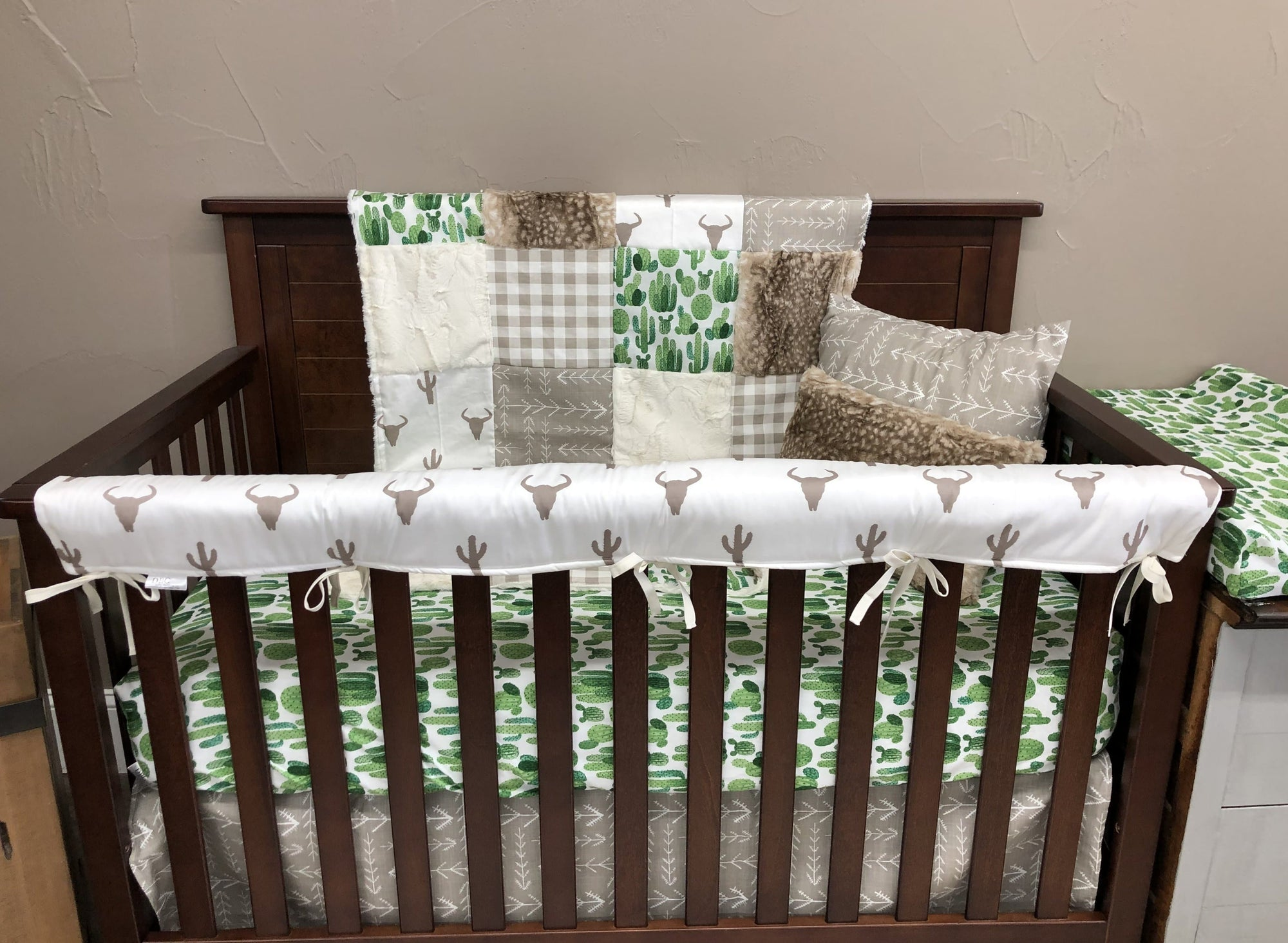 Ready to Ship Neutral Crib Bedding- Steer, Cactus, Fawn Minky, Ecru Tribal Arrow, Steer and Cactus Collection