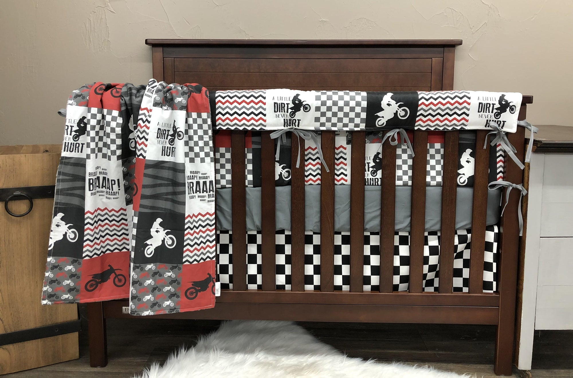 Custom Boy Crib Bedding - Deep Red Dirt Bike, Gray Minky, and Race Flag Check, Motocross Crib Bedding