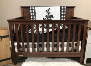Custom Neutral Crib Bedding - Moo Cow, Black Buffalo Check, Cows, Pigs, Ducks, Chicken Crib Bedding