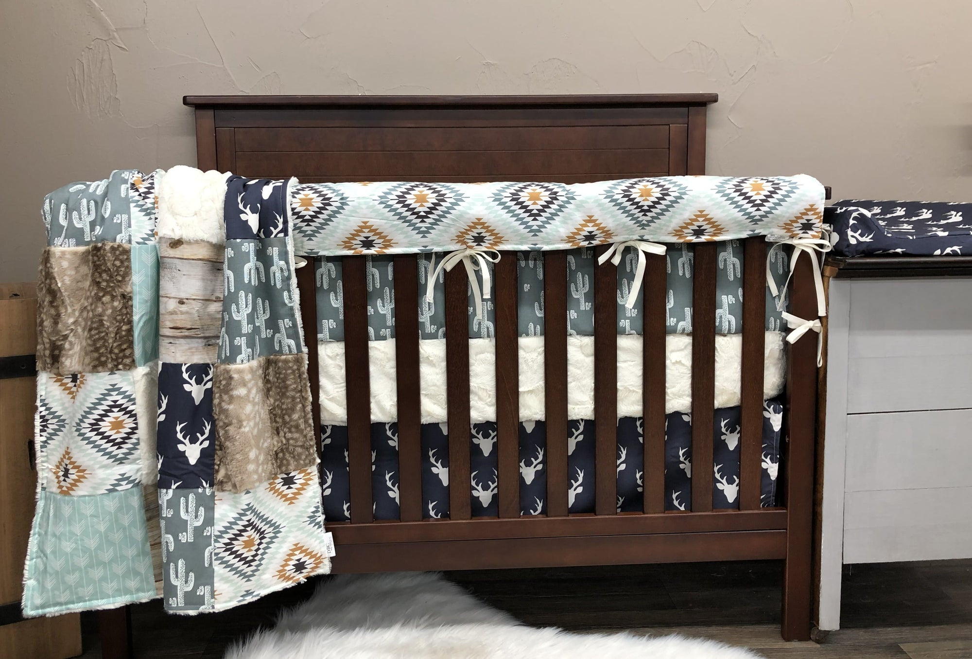 Custom Boy Crib Bedding - Buck, Cactus, Aztec, Fawn Minky, Buck and Aztec Collection