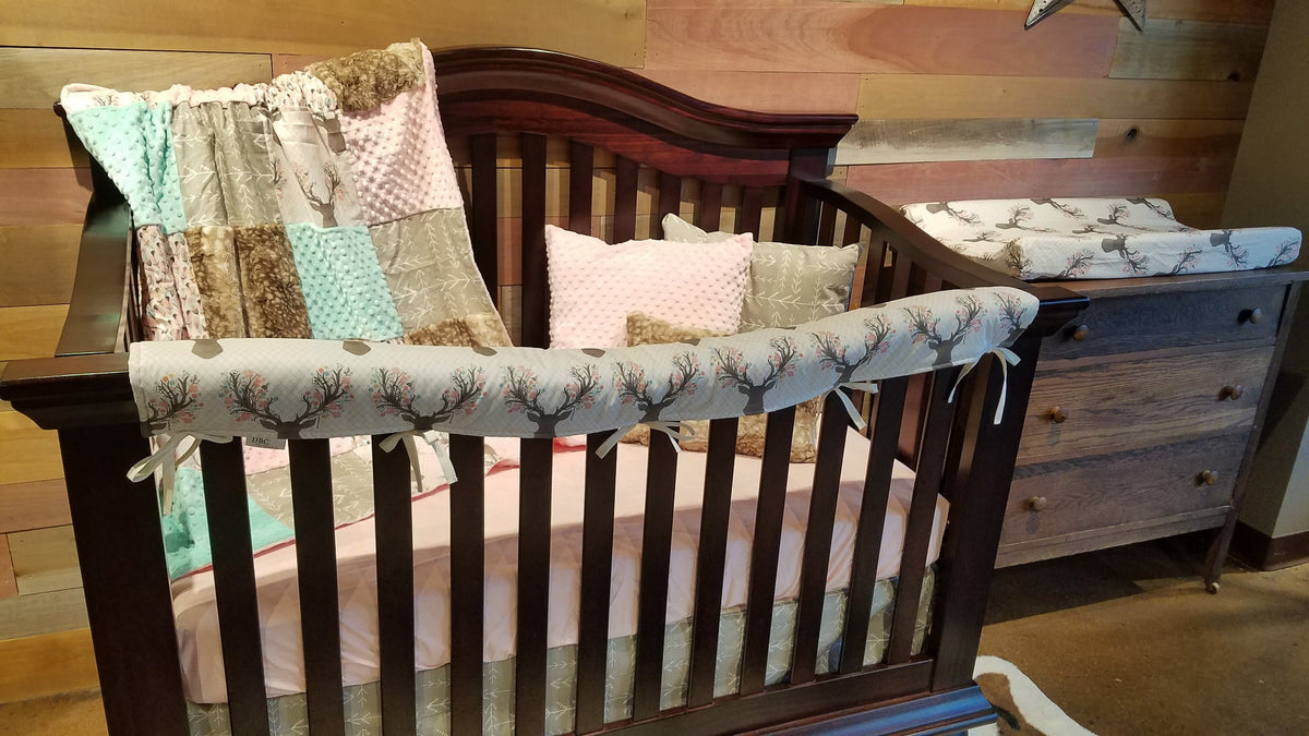 Ready to Ship Girl Crib Bedding - Tulip Fawn, Blush, Ecru Tribal Arrow, Mint, Feather, Fawn Minky, Fawn and Feather Collection