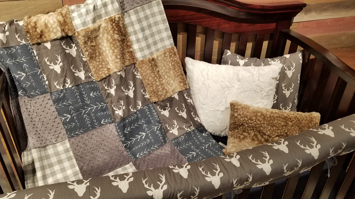 Ready to Ship Boy Crib Bedding - Buck, Gray Check, Navy Tribal Arrow, Buck and Check Collection