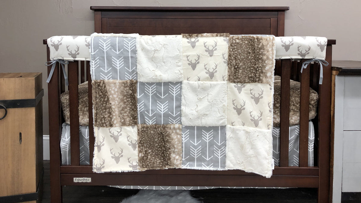 Quick Ship Neutral Crib Bedding - Arrows, Fawn Minky, Buck Woodland Collection