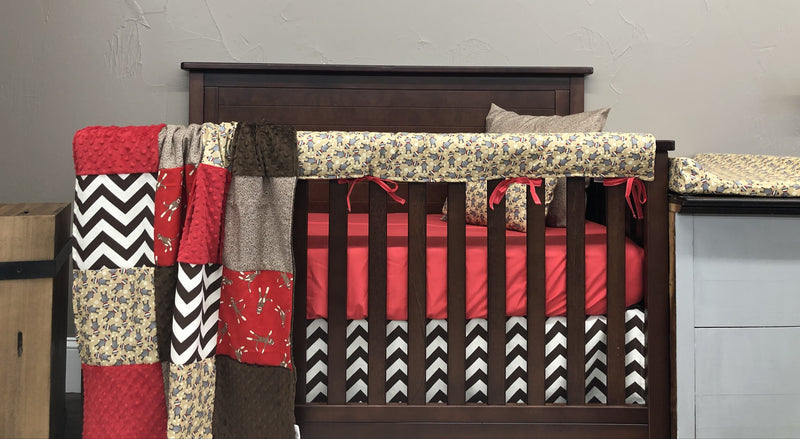 Ready to Ship Neutral Crib Bedding- Sock Monkey, Brown Chevron, Sock Monkey Texture, Sock Monkey Collection