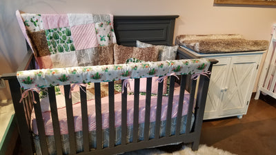 Custom Girl Crib Bedding- Cactus, Blush Trellis, Arrow, Cactus Collection