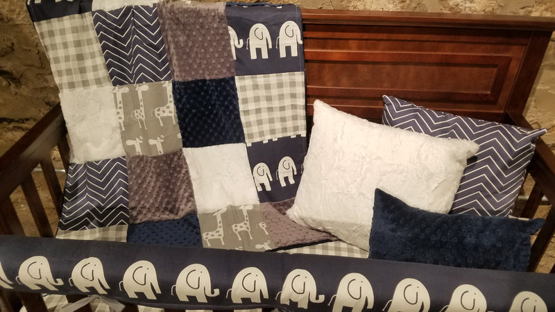 Ready to Ship Neutral Crib Bedding- Elephant, Giraffe, Gray Check, Navy Pinstripe Chevron, Elephant and Giraffe Collection