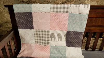 Ready to Ship Girl Crib Bedding - Elephant, Aspen Arrow, Gray Check, Blush, Elephant and Arrow Collection