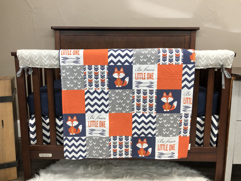 Custom Boy Crib Bedding- Fox, Navy Chevron, Gray Arrow Head, Navy Minky, Fox Collection