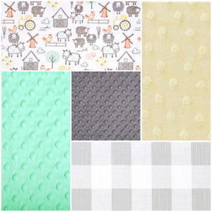 Ready to Ship Neutral Crib Bedding - Farm Animals, French Gray Check, Mint, and Gray, Farm Collection