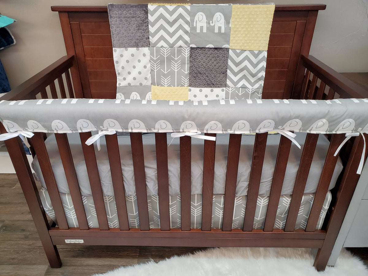 Quick Ship Neutral Crib Bedding- Gray Ele, Light Yellow, Gray Dots, Arrows, Chevron, Elephant Collection