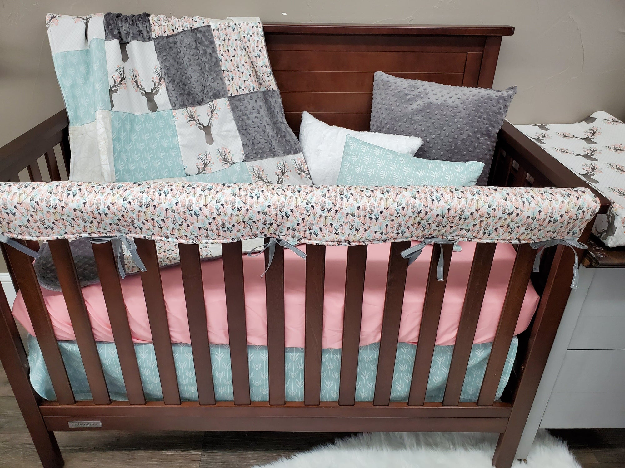 Custom Girl Crib Bedding - Fawn, Mint Arrows, Dream Catchers,  and Feathers, Woodland Crib Bedding