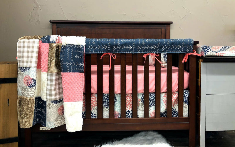 2 Day Ship Girl Crib Bedding - Color Burst, Navy Tribal Arrow, Fawn Minky, Coral, Burst Collection