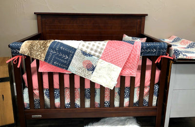 Quick Ship Girl Crib Bedding - Color Burst, Arrow, Fawn Minky, Coral Woodland Collection