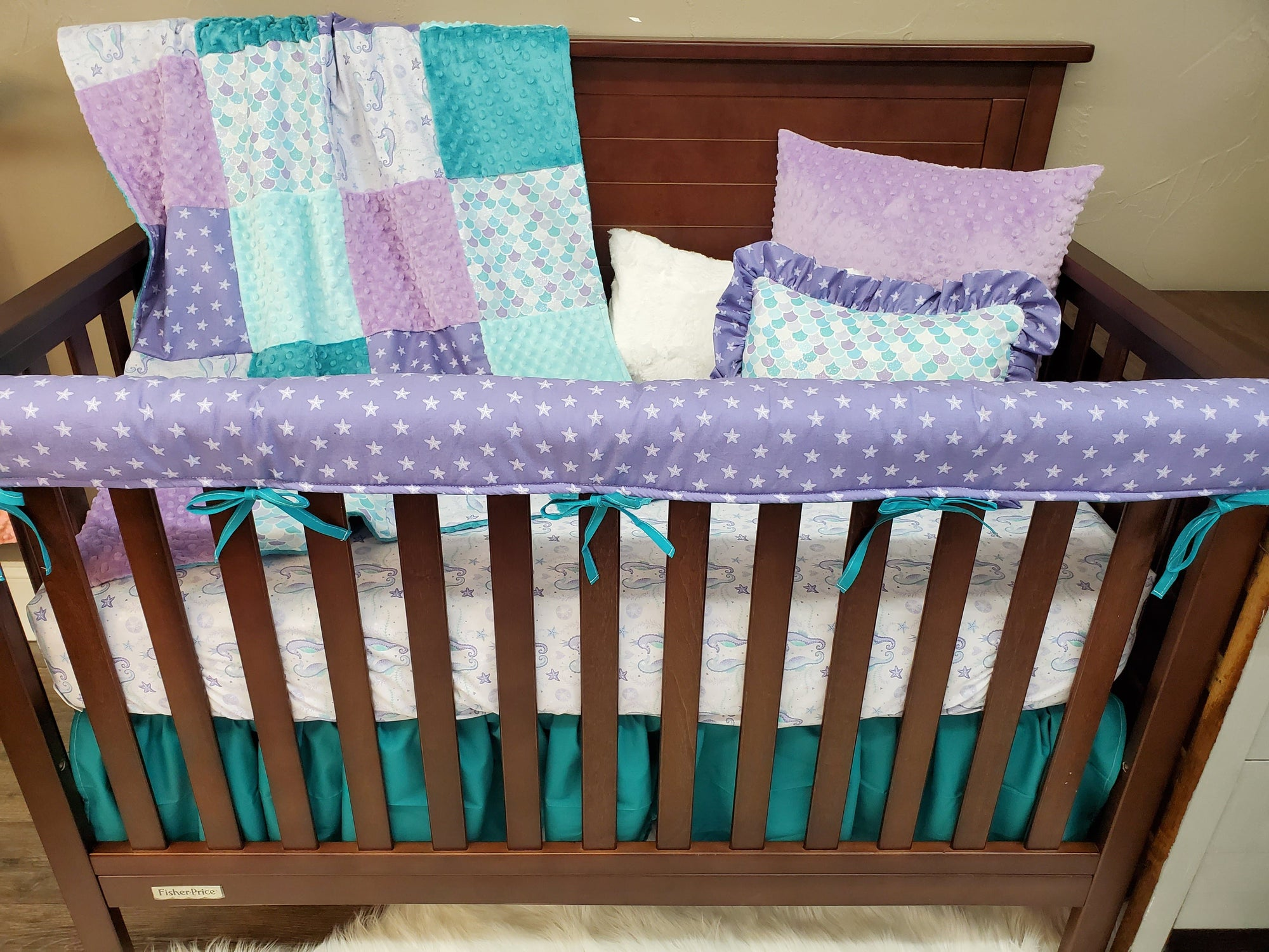 Ready to Ship Girl Crib Bedding- Mermaid Scales, Seahorse, Starfish Collection