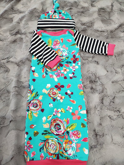 Baby Gown - Teal Flowers with Black Stripe