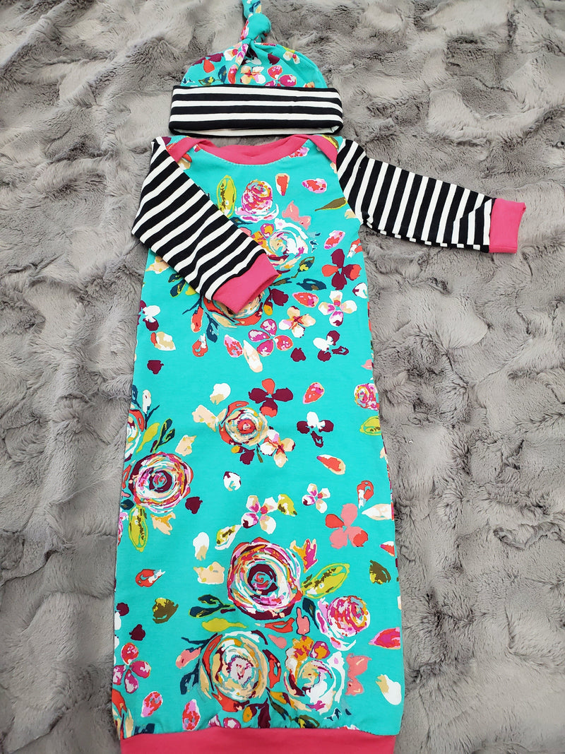 Baby Gown - Teal Flowers with Black Stripe Accent Going Home Outfit