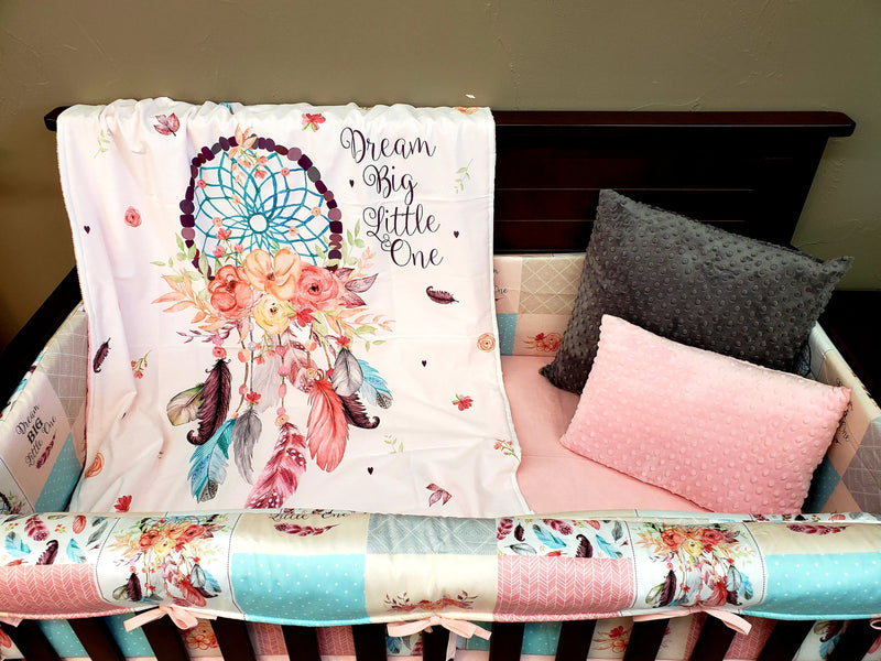 New Design Custom Girl Crib Bedding- Dream Catcher, White Gray Arrow, and Blush Minky, Dream Catcher Collection