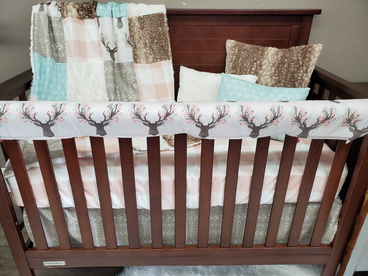 Ready to Ship Girl Crib Bedding - Fawn and Check Bedding Collection