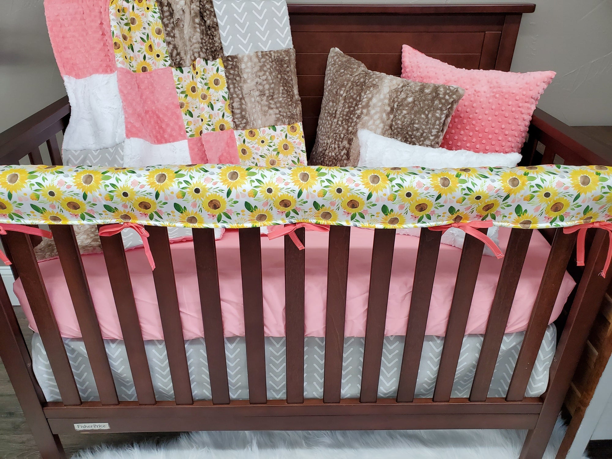 Custom Girl Crib Bedding - Sunflower Collection
