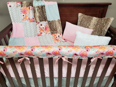 Custom Girl Crib Bedding - Watercolor Flower Collection