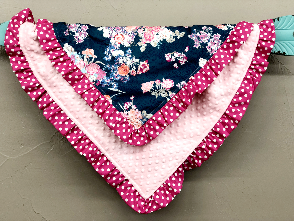 Ruffle Blanket - Navy Coral Floral and Blush Minky with Pink Dot Ruffle