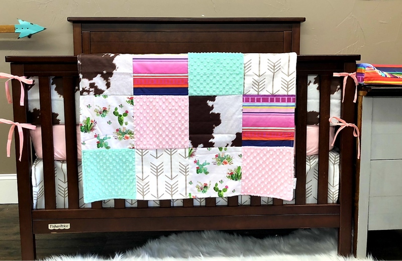 Custom Baby Girl Crib Bedding  - Cactus, Serape Stripe, Cow Skin Print, Blush, and White Tan Arrow, Cactus Serape Collection