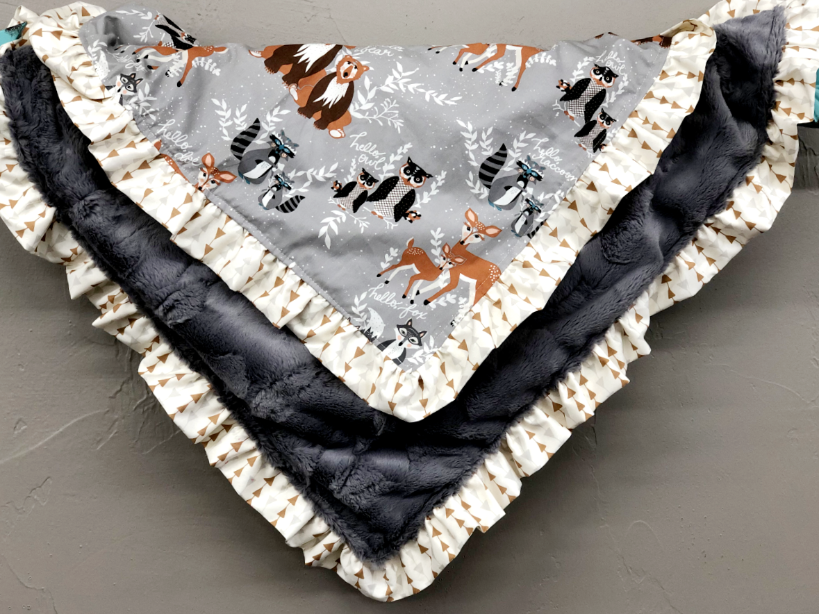 Ruffle Blanket - Hello Bear and Gray Crushed Minky with Arrow Ruffle