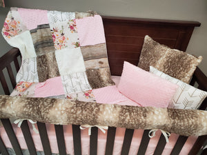 New Live Shopping Specials Girl Crib Bedding- Antique Rose's and Rustic Wood Bedding Set