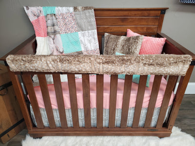 Custom Girl Crib Bedding - Tulip Fawn and Rustic Woodland Collection
