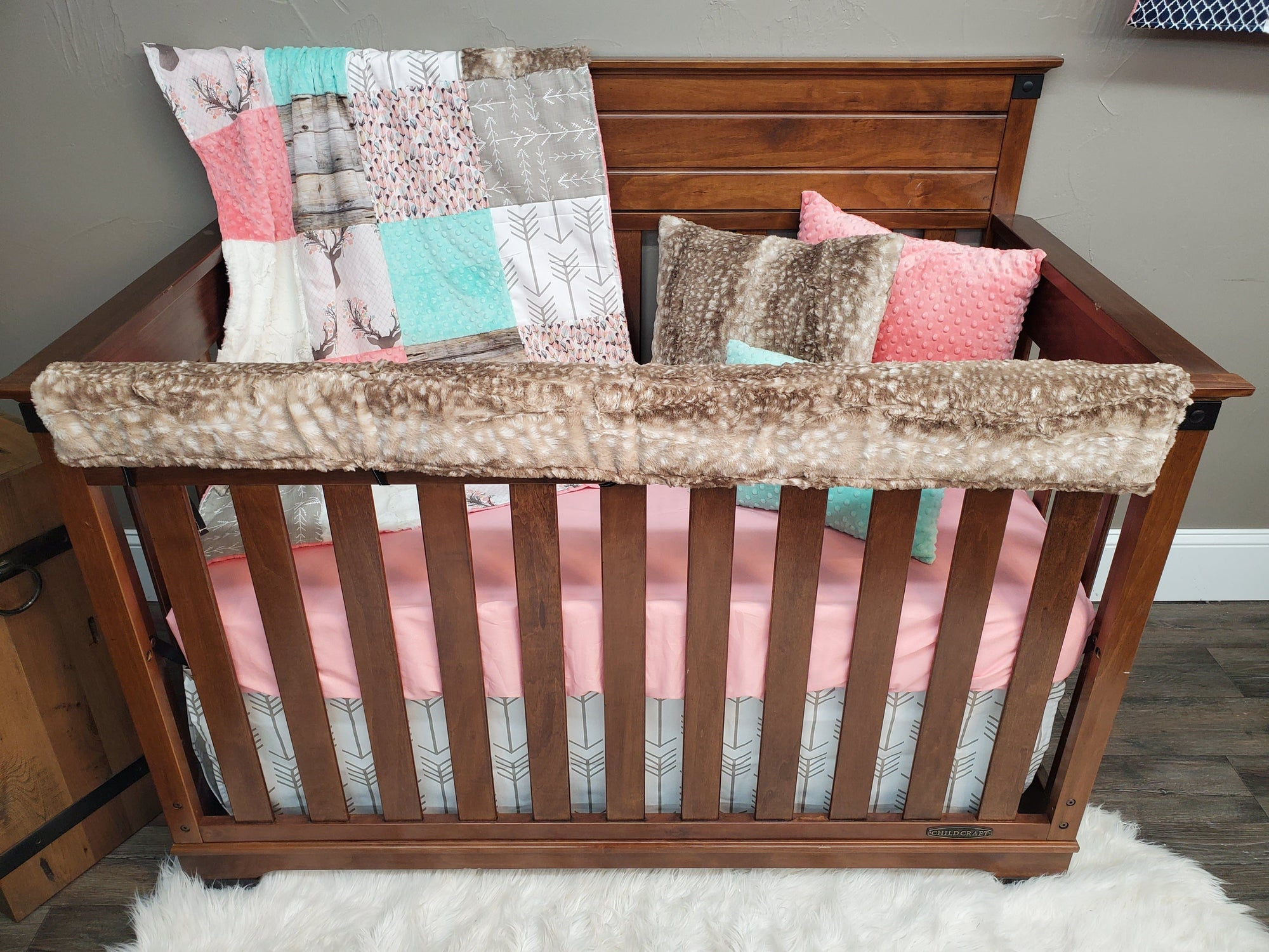 Same Day Ship Girl Crib Bedding - Tulip Fawn and Rustic Wood Bedding Set