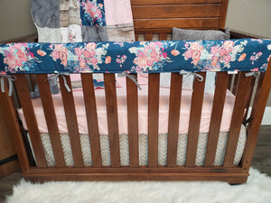 New Live Shopping Specials Girl Crib Bedding - Navy Coral Floral, Floral Antler, Rustic Wood Bedding Set