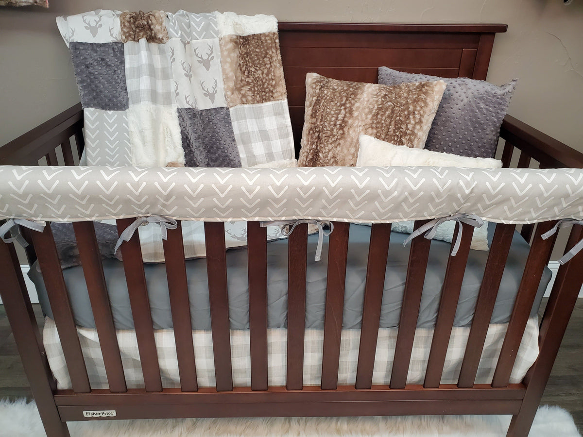Ready to Ship Neutral Crib Bedding - Buck and Arrowhead Bedding Set