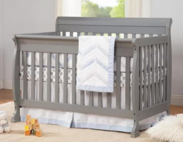 Standard Cribs - Sleigh Style Crib in Gray