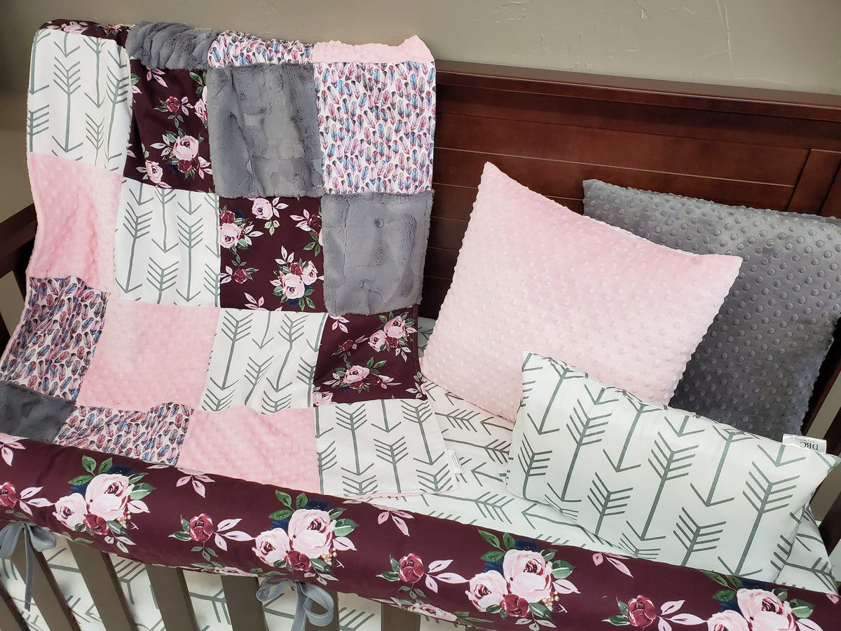 Ready to Ship Girl Crib Bedding - Maroon Floral Collection