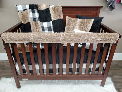 2 Day Ship Neutral Crib Bedding - Black Check and Fawn Minky, Farmhouse Collection