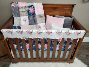 New Live Shopping Specials Girl Crib Bedding - Antler and Navy Coral Floral Bedding Set