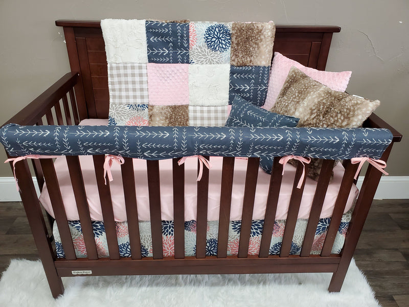 2 Day Ship Girl Crib Bedding - Color Burst, Navy Tribal Arrow, Fawn Minky, Blush, Arrow and Burst Collection