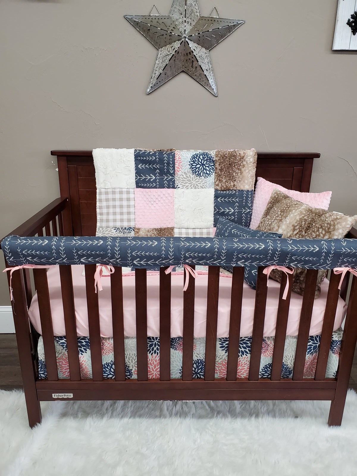 Quick Ship Girl Crib Bedding - Color Burst, Arrow, Fawn Minky Blush Woodland Collection