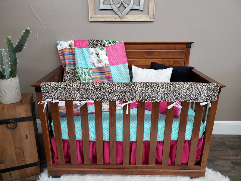Ready to Ship Girl Crib Bedding- Cactus, Serape, Cheetah Collection